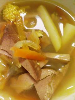 カレー風味レバースープ